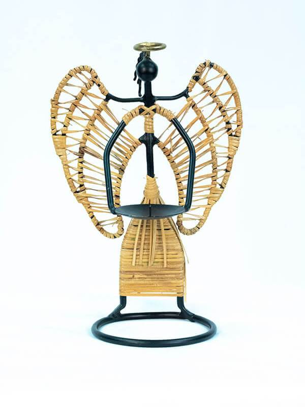 angel wicker art candleholder, front