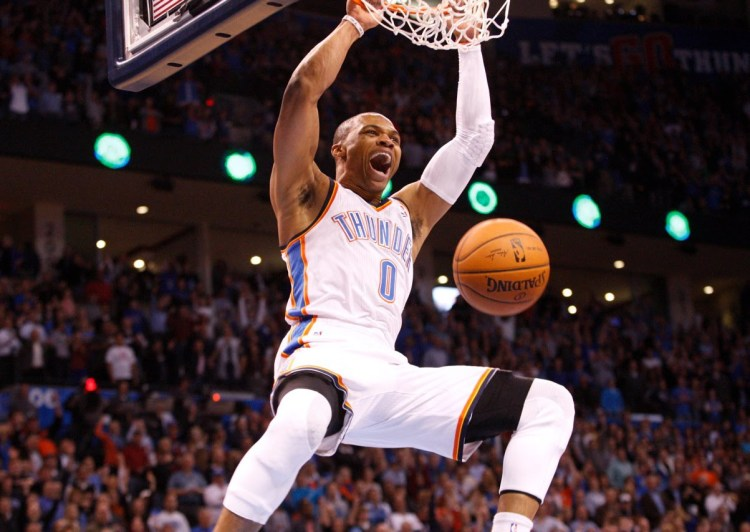 Russell Westbrook hanging off the rim after yet another poster