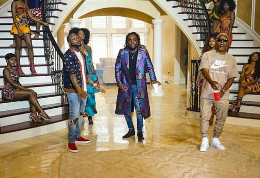 wale, olamide and davido on set the fine girl video shoot