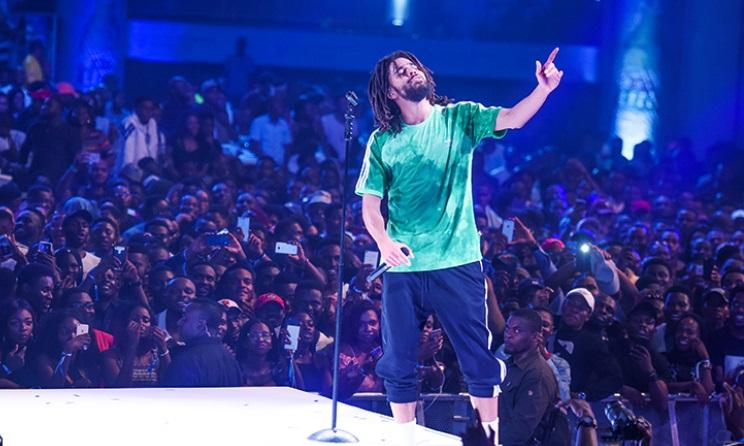 J Cole performing at Castle Lite Unlocks