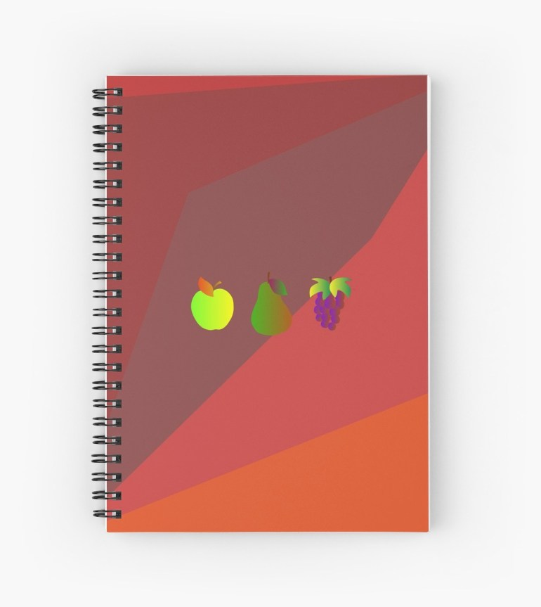 Apple Pear Grapes Spiral Notebook