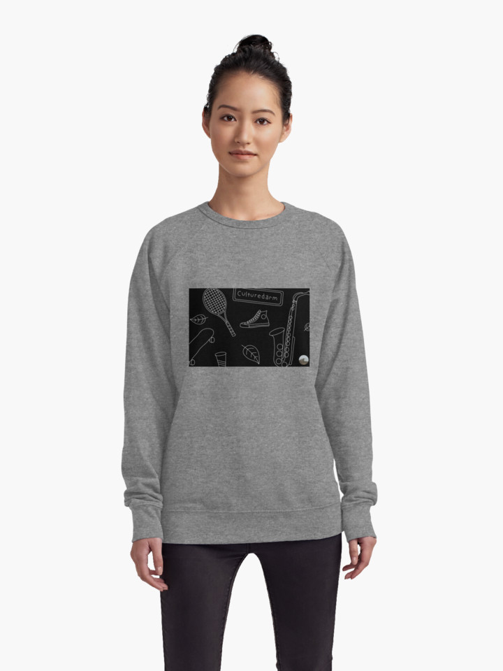 Culturedarm Black and White Lines Grey Lightweight Sweatshirt