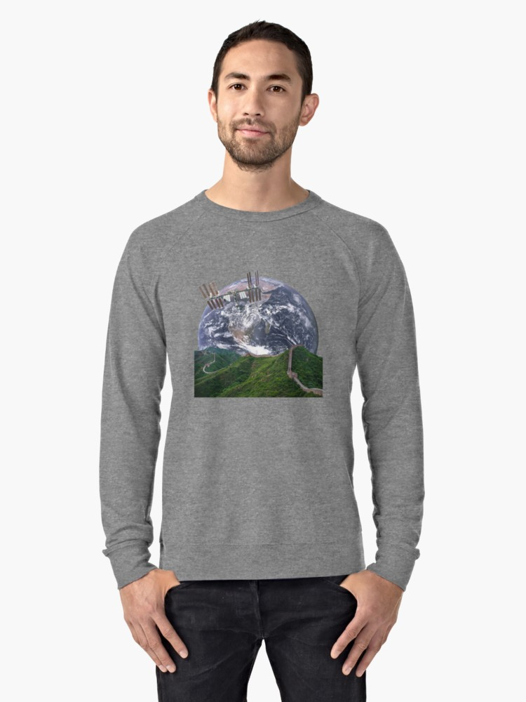 Parallax Great Wall from Space Grey Lightweight Sweatshirt