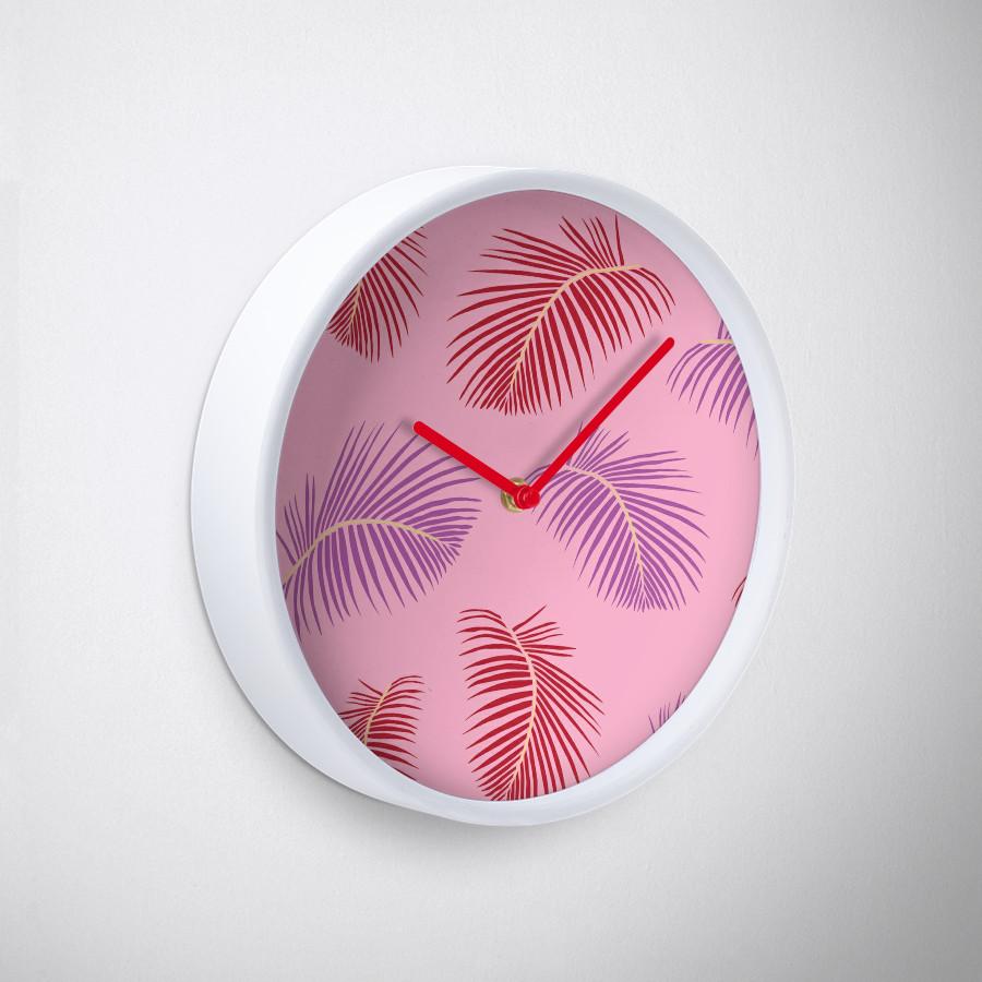 Culturedarm Pink Fronds Clock