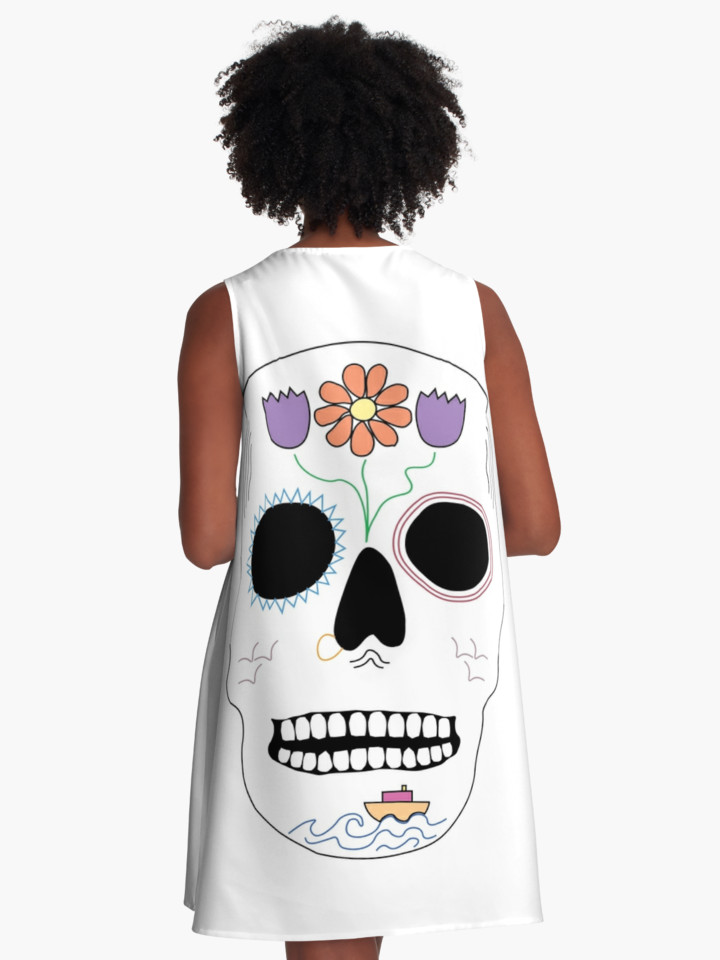 Floral Seafaring Skull A-Line Dress