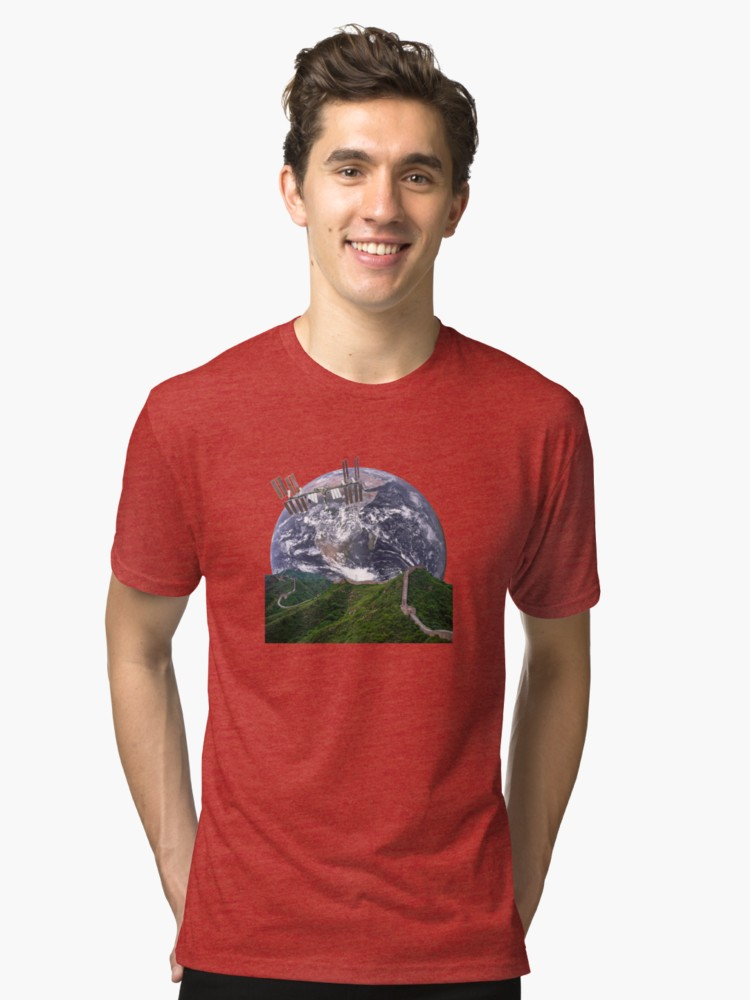 Parallax Great Wall from Space Red Tri-Blend T-Shirt
