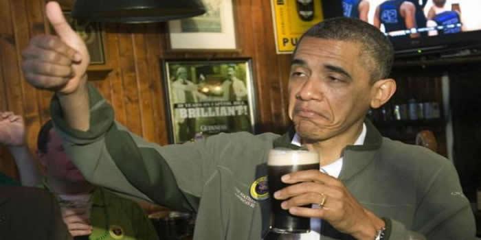 Obama beer sip
