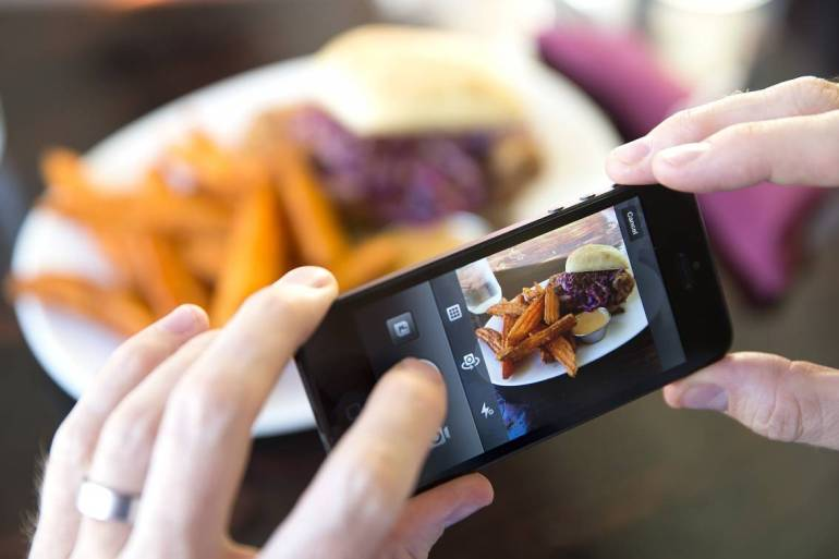 taking pictures of food on instagram