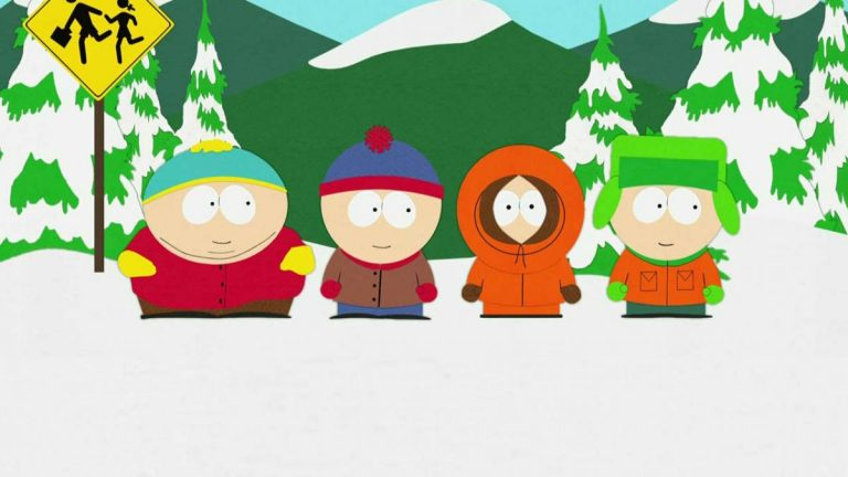 The South Park kids at their trademark bus stop