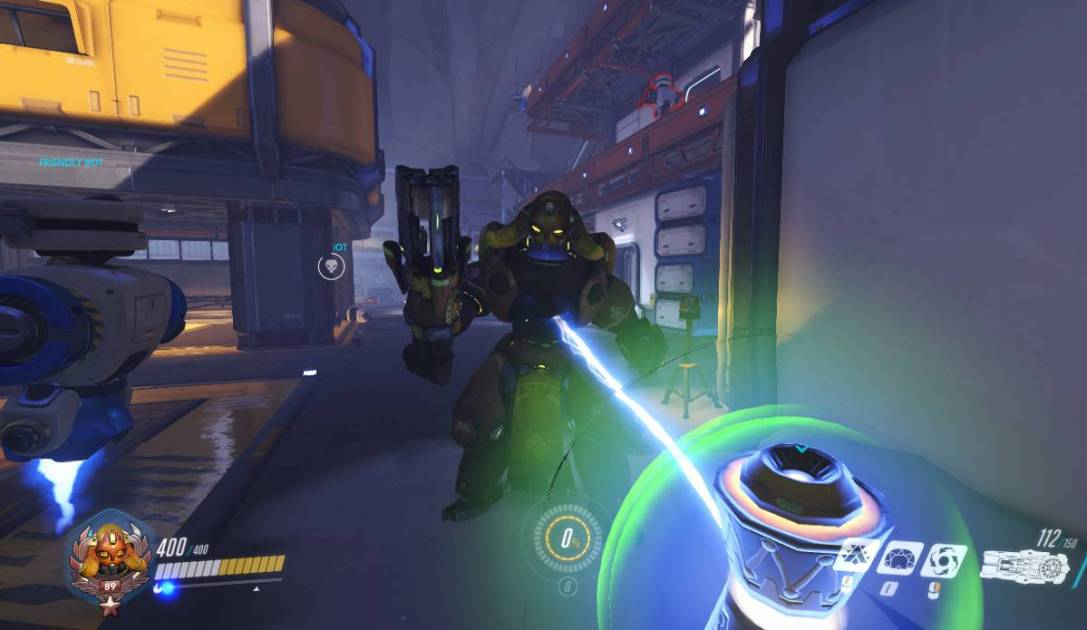 A screenshot showing Orisa's Ultimate ability being used