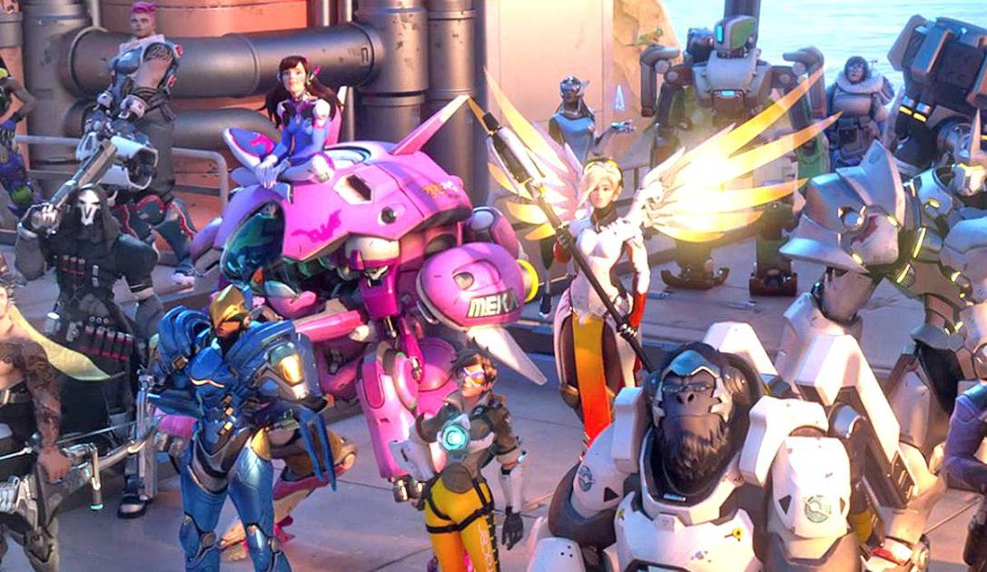 An Overwatch group shot, featuring most of the main heroes at launch