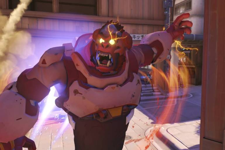 A screenshot of Winston in the middle of his Ult, showing the rage of abuse crazy gamers