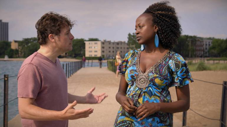 Rogers Park - Chris + Deena on the beach