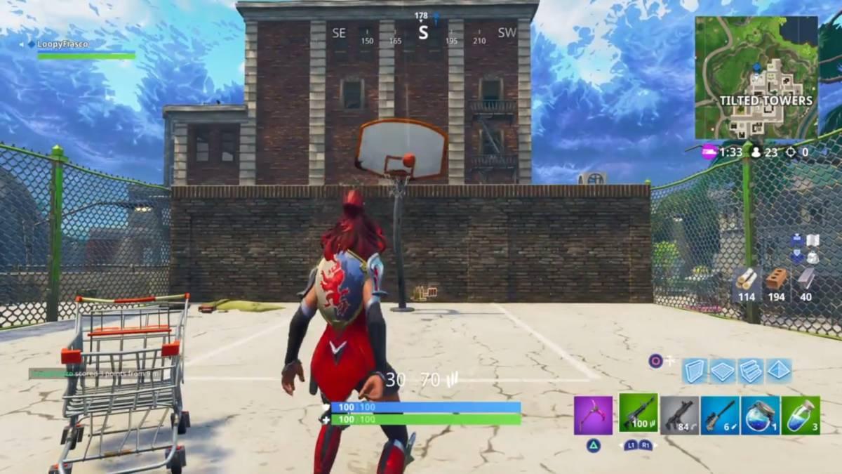 Fortnite basketball hoop locations Tilted Towers 1