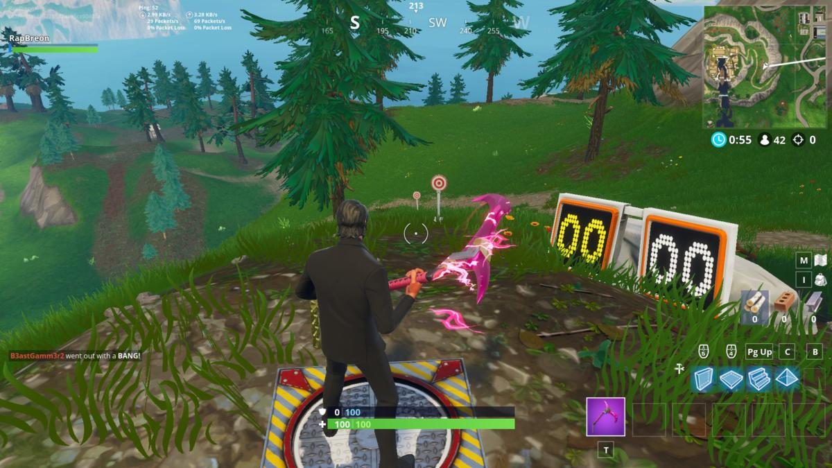 that rests between snobby shores and greasy grove that i have dubbed viking village on the east side of this hill is a shooting gallery overlooking - fortnite shooting gallery locations season 6
