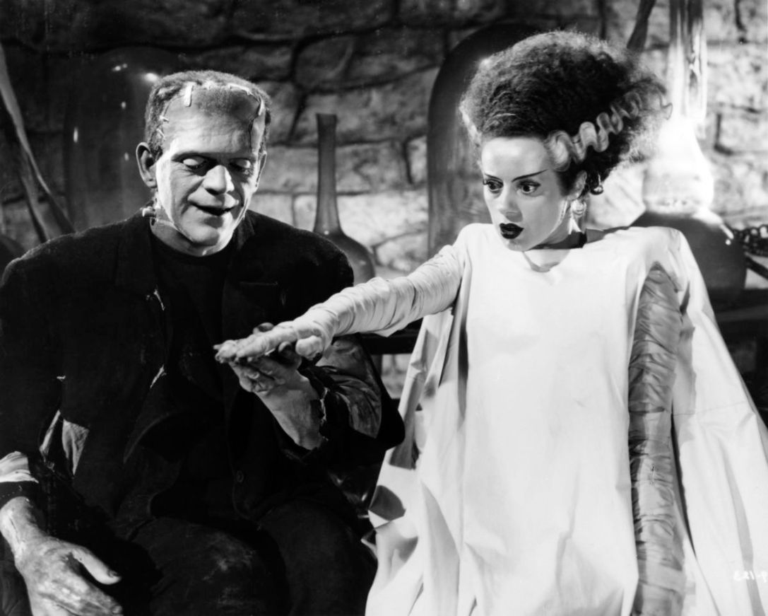 Boris Karloff and Elsa Lanchester in BRIDE OF FRANKENSTEIN, 1935.