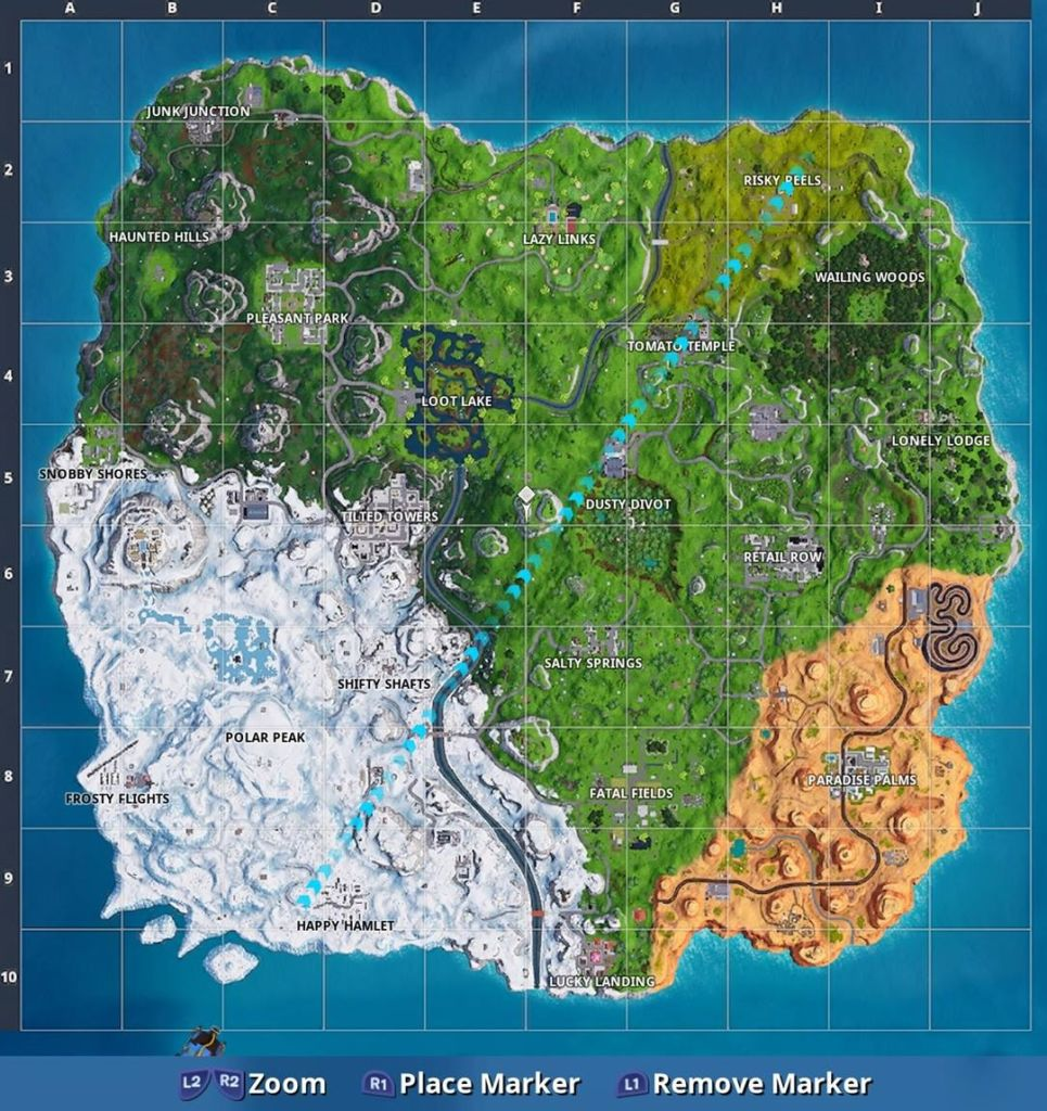 fortnite season 7 map new named locations  happy hamlet  polar peak  u0026 more