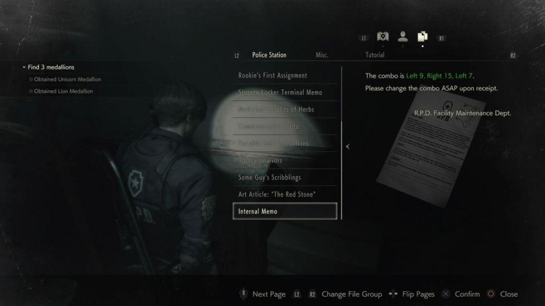 Resident Evil 2 west office safe combination