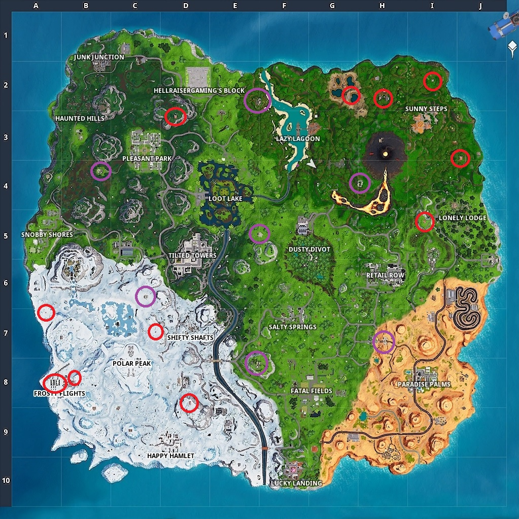 Fortnite Baller Spawn Locations map