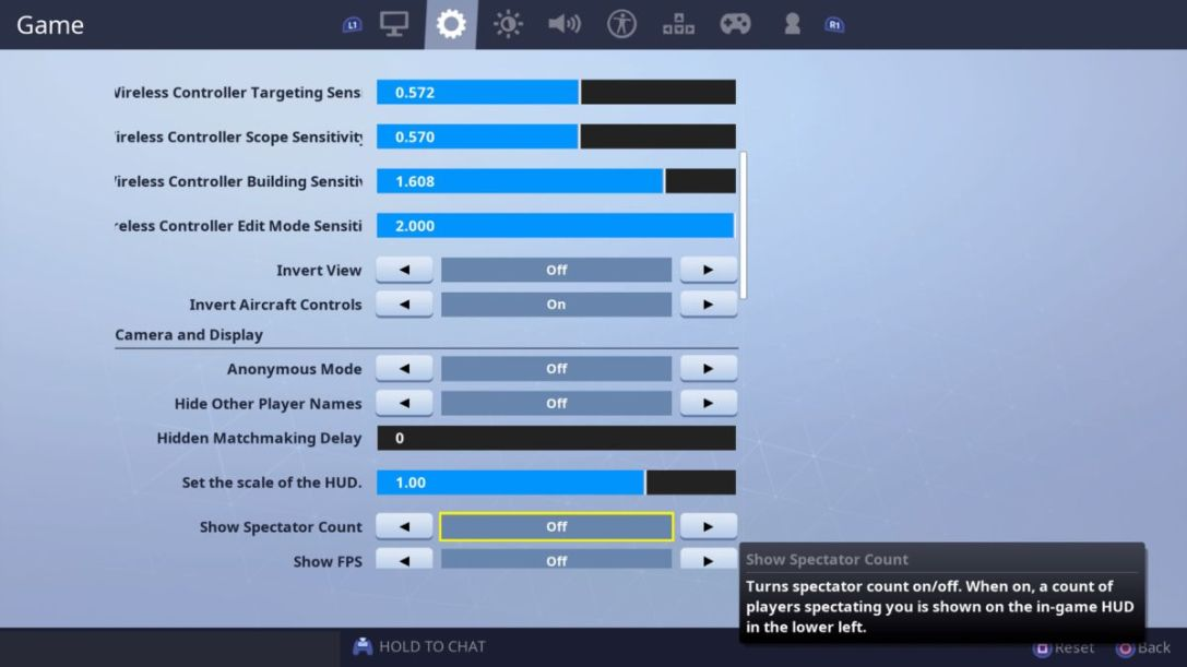 Fortnite camera settings
