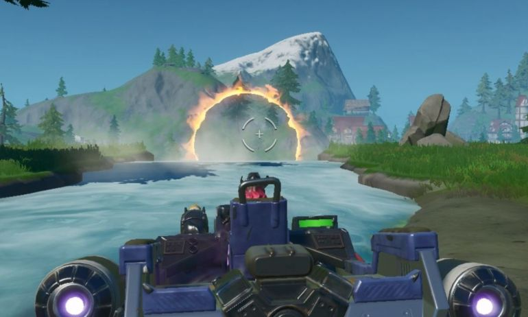 Jump A Motorboat Through Different Flaming Rings Locations