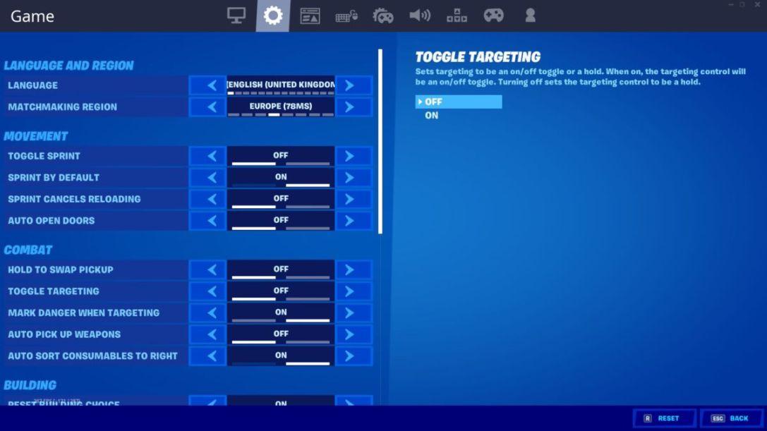 Fortnite settings