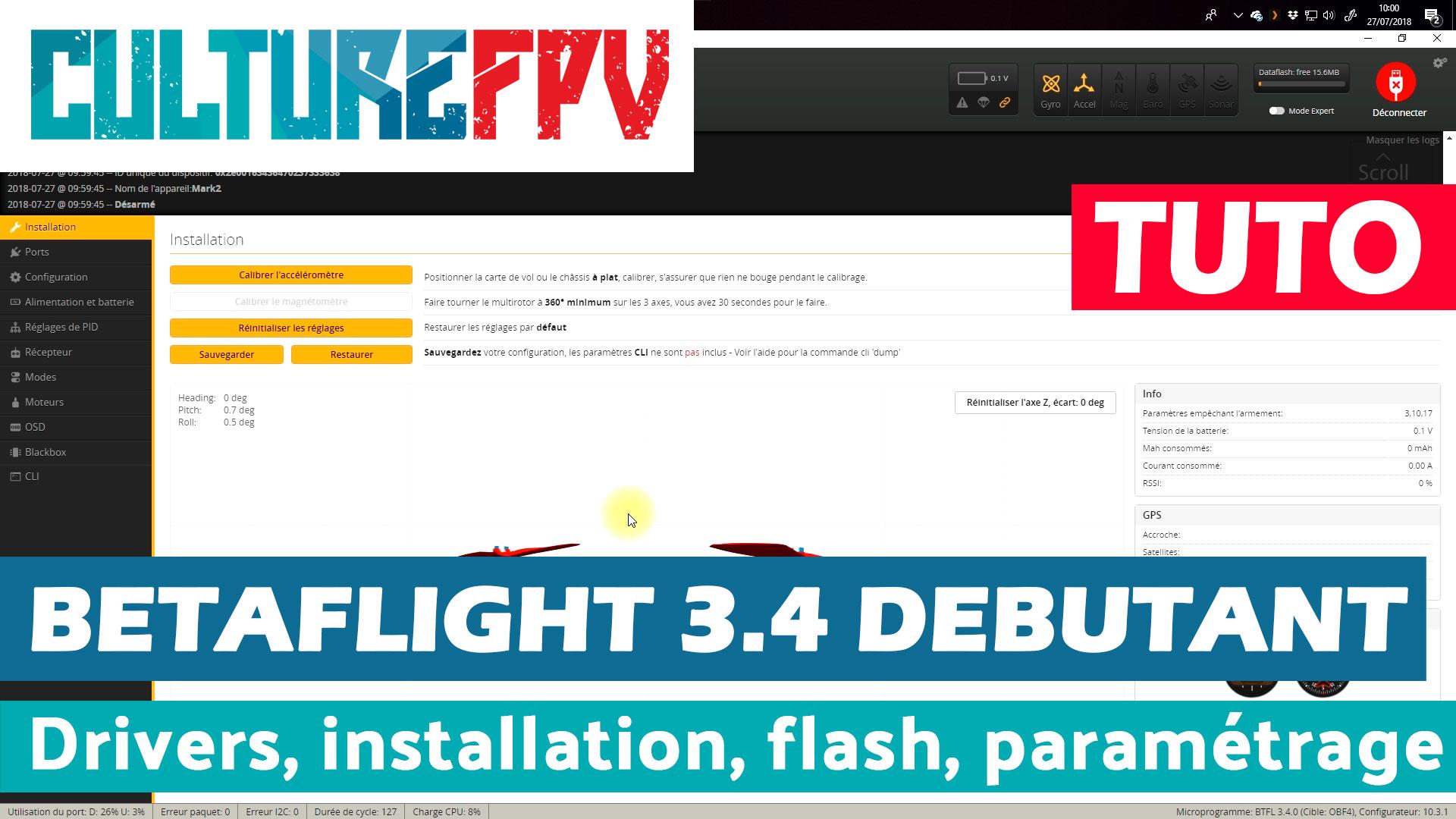 betaflight 3.4 débutant