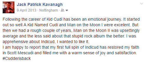 Kid Cudi Facebook post