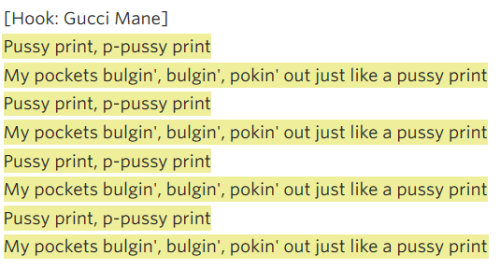 pussy print lyrics - gucci mane and Kanye West