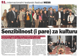Media coverage: Oslobodjenje, a Sarajevo newspaper, reports on a meeting with MESS Sarajevo attendees