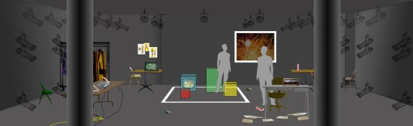 "Rendering of set design for Kyoung H. Park""Tala"" at HERE Arts Center, July 2012. Set Designer: Marie Yokoyama 