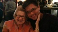 Dr. Ruth and Randy Gener at lunch in Greenwich Village