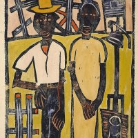 fa1 William H. Johnson (American artist, 1901-1970) Farm Couple at Well 1939-40 Print