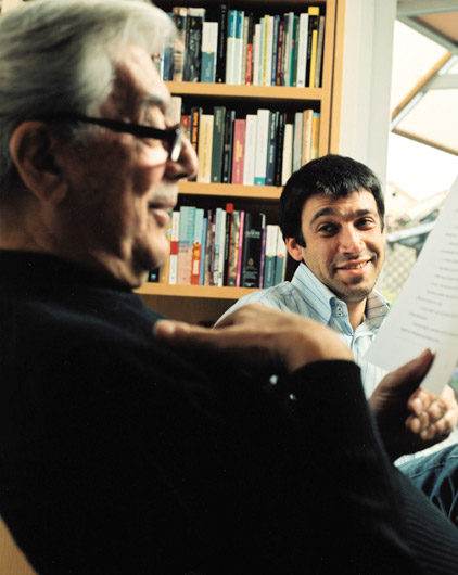 Peruvian novelist and politician Mario Vargas Llosa and protégé Antonio García Ángel