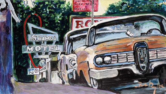"""Classic Car Show, Cleveland, Ohio, 2015–2016."" Acrylic on canvas, 71.1 x 121.9 cm. 