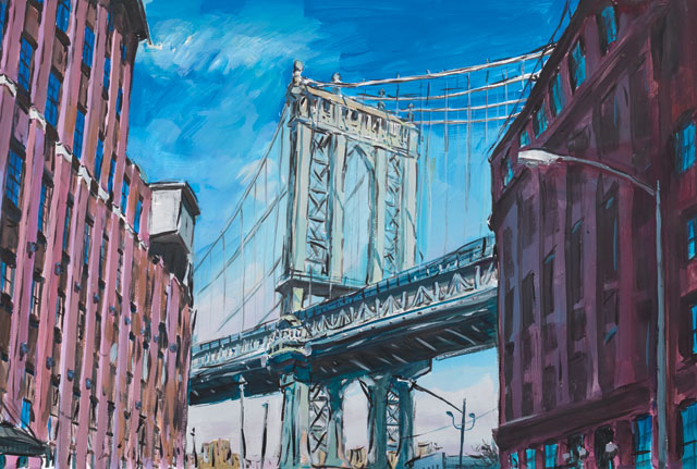 """Bob Dylan's """"Manhattan Bridge,"""" Downtown New York, 2015–2016. Watercolour on paper, 89.2 x 121.3 cm. 