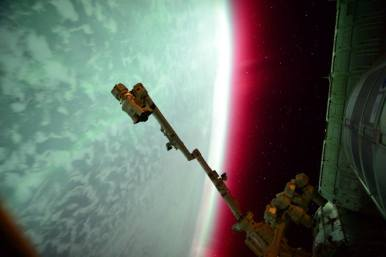 Lights of an Aurora From the International Space Station NASA Astronaut Scott Kelly captured this photo of an aurora from the International Space Station on June 23, 2015. The dancing lights of the aurora provide spectacular views on the ground, but also capture the imagination of scientists who study incoming energy and particles from the sun.