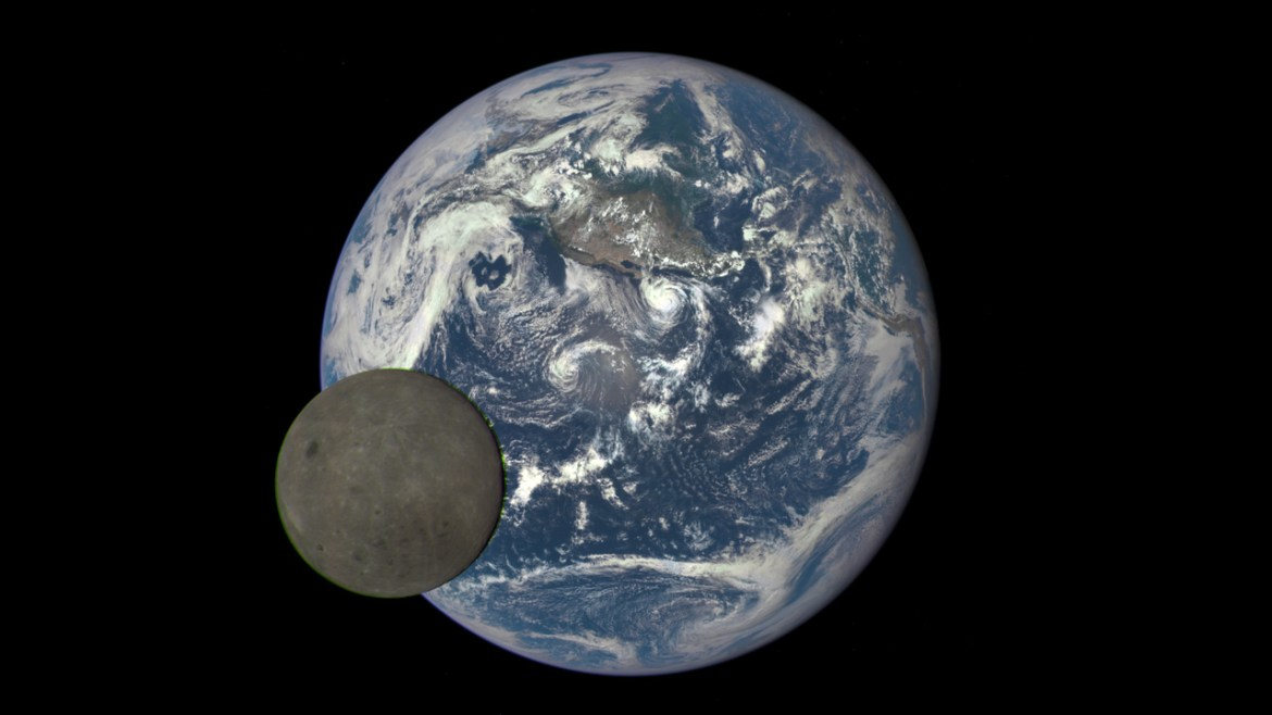DSCOVR captured the moon passing in front of Earth from its vantage point at Lagrange Point 1, a stable point between the sun and Earth