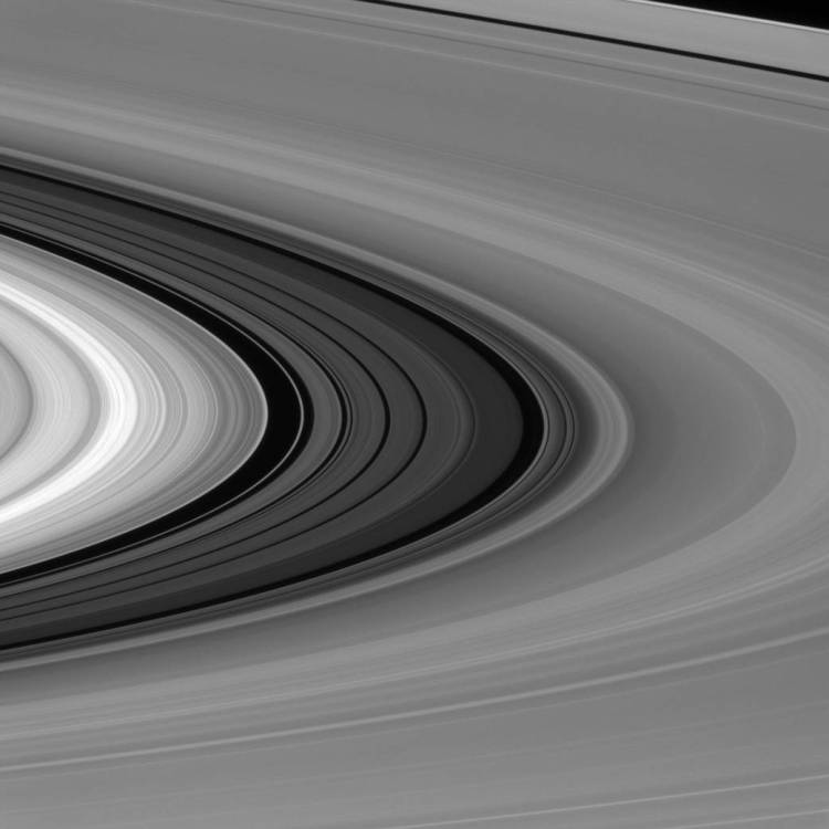 The Cassini Division (seen here between the bright B ring and dimmer A ring) is almost as wide as the planet Mercury.