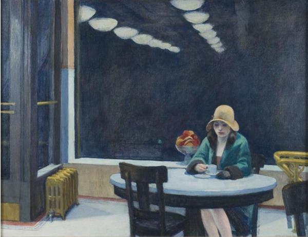 Mélancolie et solitude au café par Hopper
