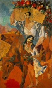 Picasso,Des jeunes gens avec leurs animaux, du blé en arrière-plan. cinq tableaux