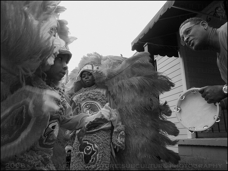 February 2007 - New Orleans, LA.  The Guardians of the Flame are several children of Mardi Gras Indians and the Congo Nation.  They seek to keep alive the custom of paying homage to the Native Americans who gave refuge to their enslaved ancestors and treated them as equals.