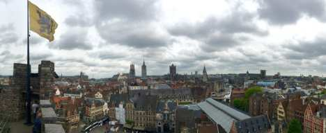 The view from a guard tower at the top of Gravensteen fortress in Ghent, Belgium. Photo taken by Josie Lucero.