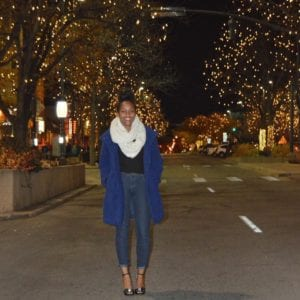Leah in Fort Collins' historic Old Town during the holidays.