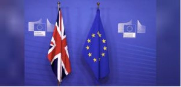 Photograph of the UK and EU flags