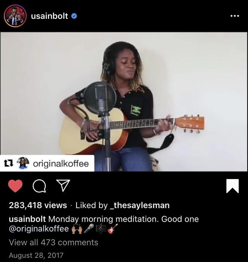 Screenshot from Usain Bolt's Instagram