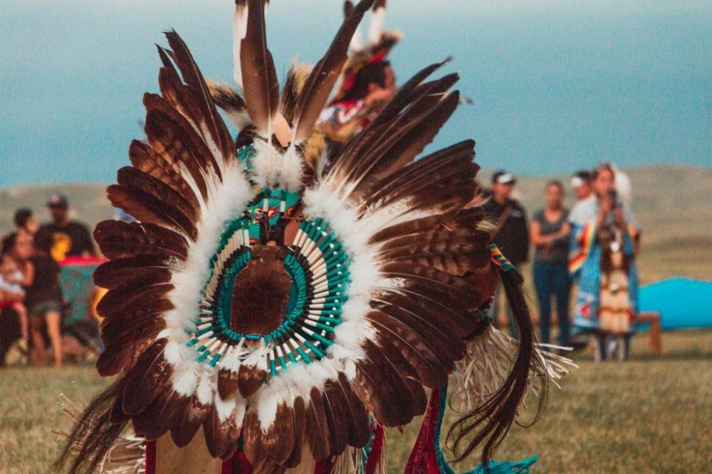 Image of a Native American Man at a Pow Wow Regalia in North Dakota.