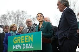 Rep. Ocasio-Cortez and Sen. Markey introducing the Green New Deal