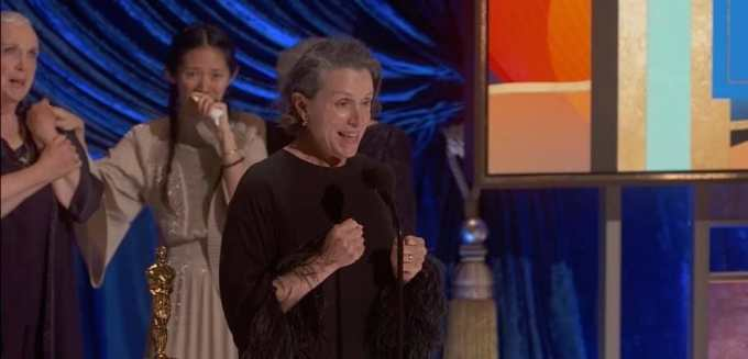 Frances Mcdormand 法蘭絲‧麥杜雯 獲獎 // 圖片來源自 93屆奧斯卡頒獎禮截圖 Academy Awards Best Actress