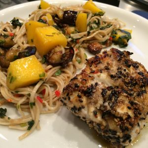 Ottolenghi's soba noodles with aubergine and mango